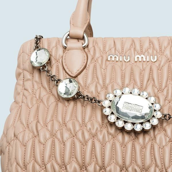 cabb86fe2f88 Miu Crystal Cloqué Nappa Leather Bag