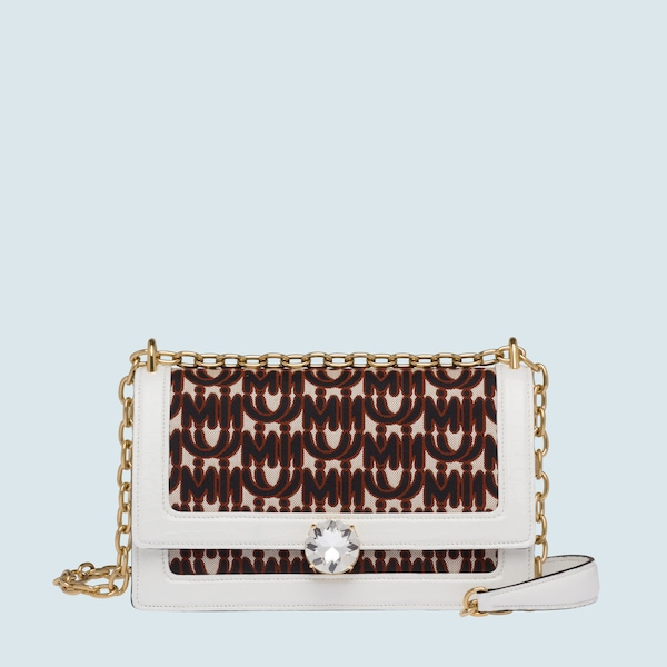 5eb94172960f Miu Solitaire jacquard and leather bag