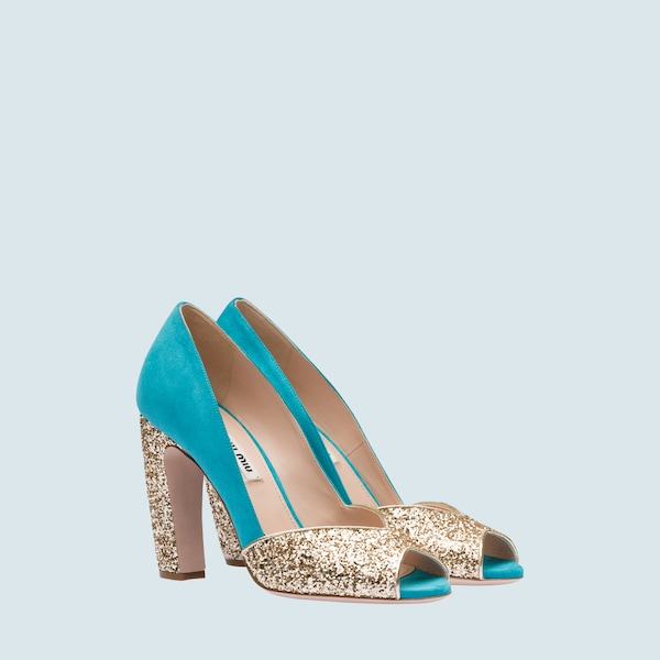 a224881739 Suede pumps with glitter